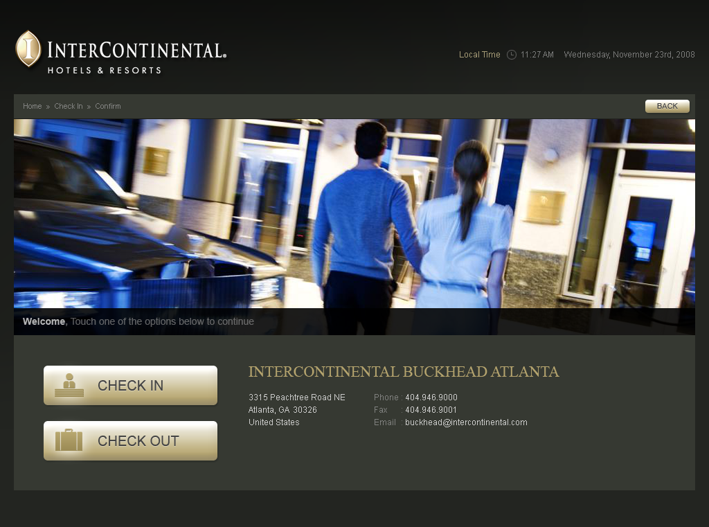 Intercontinental Buckhead Kiosk Homepage